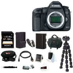 Canon EOS 5D Mark III DSLR Digital Camera (Body) with 64GB SDXC Accessory Bundle. Canon Authorized Dealer - Includes USA Manufacturer's Warranty. 22MP full frame CMOS sensor / 61-point AF system. DIGIC 5+ Image Processor for enhanced noise reduction & fast processing speed. 1080p HD video recording with manual controls. Includes - Sony 64GB SDXC Card / Replacement LP-E6 Battery / AC/DC Rapid Charger / Focus DSLR Digital Camera Accessory Bundle.