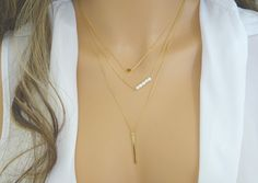 Gold Layer Necklace Set  / Vertical gold Bar by LAminiJewelry