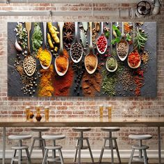 Food Painting Modern Spices Poster Canvas Modular Picture For Kitchen Restaurant Home Decoration Wall Art HD Printed NO Frame Food Painting, House Painting, Deco Restaurant, Modern Restaurant, Rustic Winter Decor, Tapete Gold, 3d Foto, Luxe Decor, Kitchen Pictures
