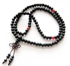 #5: 6mm 108 Black Wood Beads Tibetan Buddhist Prayer Meditation Mala Necklace