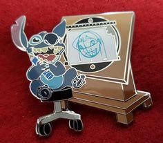 Disney Pin Stitch Lilo DLR Annual Passholder Drawn to Disney Animation Desk
