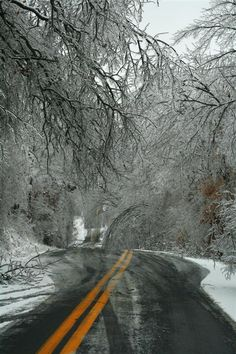 Ice Storm 2009. Crazy how highways became windy country roads.