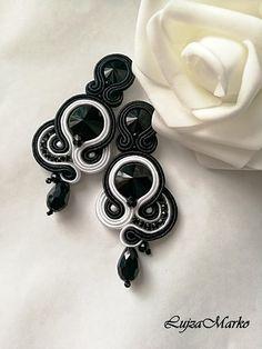Soutache black&white elegant earrings