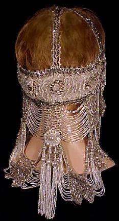 c: 1920 ...Beaded Headdress.  This must have gotten fairly annoying by the end of the evening.