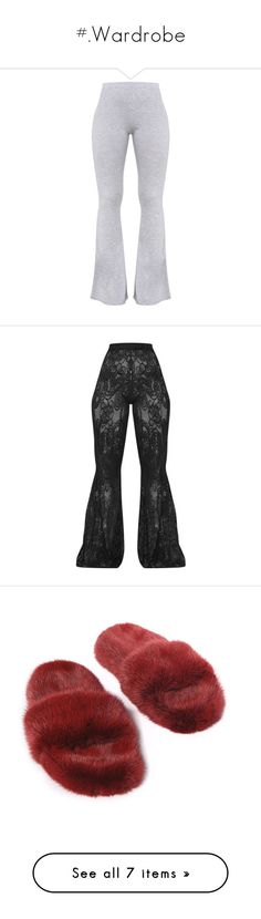 """""""#.Wardrobe"""" by xmelaninprincessbarbiex ❤ liked on Polyvore featuring pants, grey trousers, gray trousers, petite trousers, gray pants, grey pants, flared pants, crochet pants, crochet flare pants and crochet beach pants"""