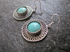 Jewelry, Silver earrings, Filigree earrings, Turquoise earrings, Yemenite earrings,