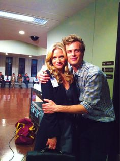 AJ Cook and Matthew Gray Gubler on the set of Criminal Minds.