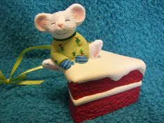 Mouse on piece of cake Christmas ornament