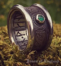 A mighty Jarl's  Silver Serpent ring, with Emerald and Rune~Script  www.jasonofengland.co.uk  #jasonofengland #viking #vikingjewellery #runes #emerald #vikings