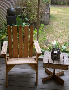Chair and table made from wood pallet.