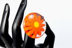 Fabulous Lucite Daisy Ring  Adjustable Band  ca. by AgeofPlastic