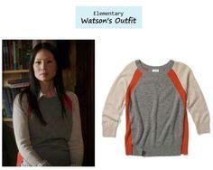 Elementary Ep. 112: Joan Watson's (Lucy Liu) colorblock sweater....LIKE.