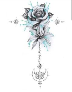 Perfectly Imperfect Rose, Lily, Moon Unalome Tattoo – flower tattoos designs – tattoo tatuagem - Famous Last Words Small Flower Tattoos, Flower Tattoo Designs, Small Tattoos, Lily Tattoo Design, Tattoos With Roses, Hawaiian Flower Tattoos, Flower Spine Tattoos, Mom Tattoo Designs, Tattoo Sleeve Designs
