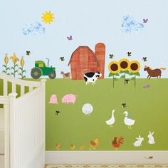 Create an instant farm scene for your baby nursery or child's room with these adorable farm wall decals including all your favorite farm animals, big barn, trac