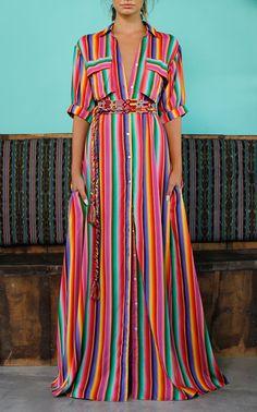 Isabella Mazi Shirt Dress by MOCHI for Preorder on Moda Operandi Striped Shirt Dress, Striped Maxi Dresses, Kaftan, Women's Fashion Dresses, Dress Outfits, Vacation Dresses, Summer Dresses, Estilo Hippie Chic, Rajputi Dress