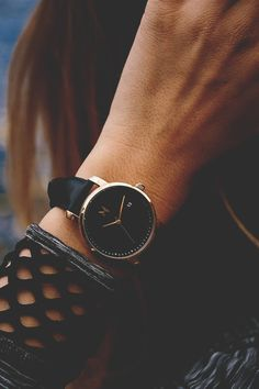 """modernambition: """" Rose Gold/Black Leather for Women 