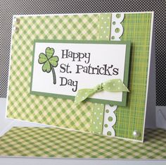 handmade St. Patrick's Day Card ... clean lines .... luv how how of the print papers are coordinated in the design ... monochromatic greens ...