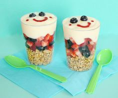 cute, healthy and EASY parfaits  . . . granola, berries, yogurt, and jam in a squeeze bottle for the smile
