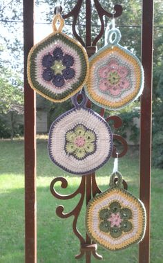 Two African Flower Motifs, a few extra rounds of double crochet, and join around the edges