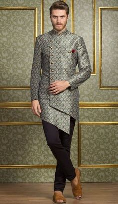 Shop Festive function blue indo western online from India. Mens Indian Wear, Mens Ethnic Wear, Indian Groom Wear, Indian Men Fashion, Indian Man, Fashion Men, Suits For Men Fashion, Style Fashion, Party Fashion