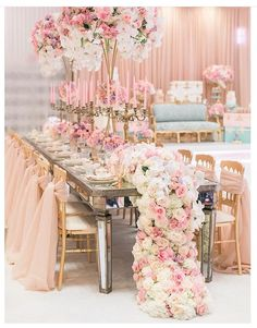 Luxury blush pink tablescape with floral runner