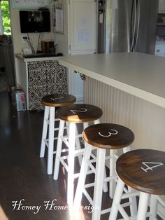 A Bar Stool Face Lift....from the blog:  Homey Home Design.  Thank you Jody for sharing with us.   For complete how to, visit:   http://www.homeyhomedesign.com/2012/06/bar-stool-face-lift.html