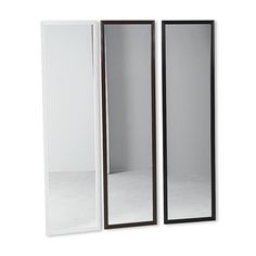 6.00  12x48  You'll have no trouble checking your reflection in this full-length door mirror from Essential Home. The sleek, modern design features two hooks for a no-hassle hang, comes in three different frame colors and is perfect for bedrooms or dorm rooms.