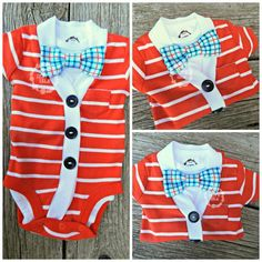 Little Boy's Cardigan Set | Baby Shower Gift | Coming Home Outfit | Trendy Baby Boy | Bow Tie Onesie | Short Sleeve Red and White Cardigan by Izzy & Isla