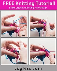 Free Knitting Tutorial from Creative Knitting newsletter: Tutorial: Jogless Join by Tabetha Hedrick. Click on the photo to access the tutorial. Sign up for this free newsletter here: AnniesNewsletters.com. by deborah