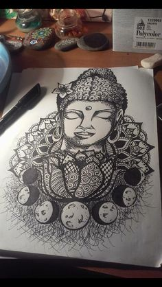 Buddha tattoo. Everything I would want all together in one tattoo! Buddha, moon phase, lotus, mandala.