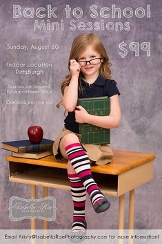Back to School-Fotoshooting und Mini-Session-Idee, Photography Mini Sessions, Toddler Photography, School Photography, Photo Sessions, Photography Studios, Photography Backdrops, First Day Of School Pictures, 1st Day Of School, School Photos