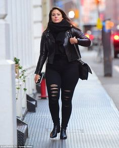 The woman in black: Ashley Graham kept it casual in all black on Monday as she stepped out...