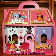 Lalaloopsy Mini Doll Dollhouse - a plain wooden dollhouse from Michael's craft stores, under $20!