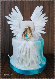 :) birthday cake for a good man :) Angel of love :) inspiration from Sihirli Pastane and her Angel in the Dark :) wings and feathers on the dress are from wafer paper :) Creative Cake Decorating, Cake Decorating Videos, Cake Decorating Techniques, Torta Angel, Angel Cake, Beautiful Cake Designs, Gorgeous Cakes, Pretty Birthday Cakes, Wedding Cakes With Cupcakes