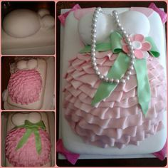 Pink and green pregnant belly cake!
