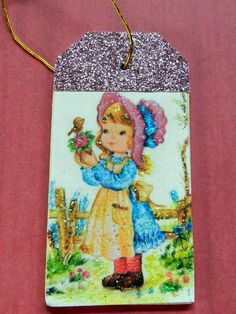 Vintage girl with poodle happy birthday gift tag gift tag little girl in bonnet vintage easter gift tag glitter wood tag easter wishes negle Images