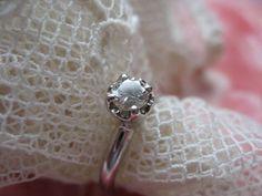 14K White Gold Diamond Engagement Ring April Birthstone