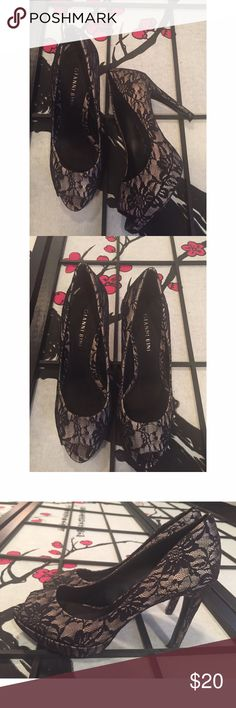 Gianni Bini Black Lace Peep Toe Heels Size 7 in great condition heels.  Does have some wear on the bottoms as shown. Gianni Bini Shoes Heels