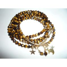 0 Tigers Eye Necklace, Tigers Eye Gemstone, Layered Look, Gemstone Necklace, Round Beads, Dangles, Beaded Bracelets, Gemstones, Gold