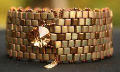 Janet Khaki and Bronze Cuff by nicegirljewels on Etsy