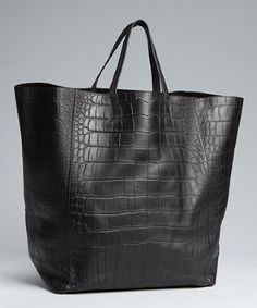 Celine black croc embossed square 'Cabas' shopper tote