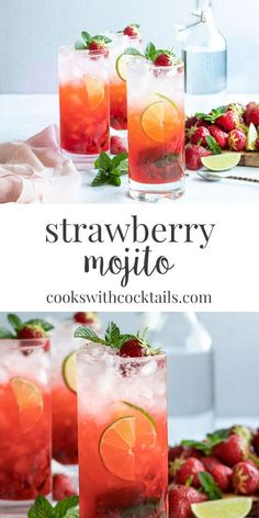 Strawberry Mojito Recipe with Fresh Strawberries! ~ Cooks with Cocktails - - This strawberry Mojito is made with fresh muddled strawberries and mint and as always, a generous helping of rum. Refreshing Cocktails, Easy Cocktails, Summer Drinks, Cocktail Drinks, Fun Drinks, Cocktail Sauce, Cocktail Movie, Cocktail Attire, Cocktail Shaker