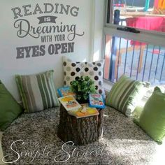 A great way to decorate a classroom reading nook or children's library area to inspire more reading! A great way to decorate a classroom reading nook or children's library area to inspire more reading! Classroom Walls, New Classroom, Classroom Design, Preschool Classroom, Classroom Themes, Classroom Organization, Kindergarten, Toddler Classroom, Preschool Library