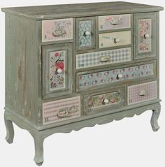 Pd Global Shabby Chic Patchwork Chest of Drawer - Multi Drawer