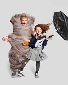 As siblings, they can have an admittedly stormy relationship at times, but they complement each other well as a storm chaser and tornado. #marthastewart #halloween #halloweendecor #fall