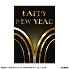 Art Deco Black and Gold New Years Party Invitation