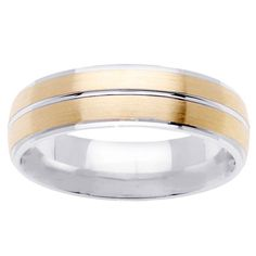 14k Two-tone Gold Men's Brushed Comfort Fit Wedding Band (Size 13)
