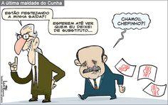 Charge do Lute sobre a última cartada de Cunha no poder (06/05/2016). #Charge #Lute #Política #PMDB #Cunha #WaldirMaranhão #HojeEmDia