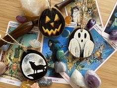 Halloween Box, Howling Wolf, Pumpkin and Ghost Hanging Wood Slices