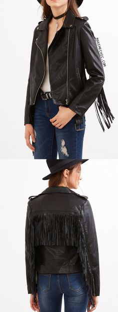 Go for an edgy feel with the Fringe Trim Biker Jacket! Features a faux leather upper, fringe trim and metallic zippers. Pairs perfectly with a wide brim hat! Modeled in a size S